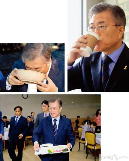 대선 선거 운동 기간 유세를 다닐 때도 간이식당에서 소박한 식사를 즐긴 문재인 대통령은 5월 12일 청와대 구내식당을 찾아 직원들과 함께 점심식사를 했다.