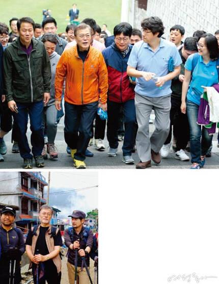 지난해 6월 히말라야 트레킹에 나선  문 대통령. 왼쪽은 양정철 전 대통령홍보기획비서관,  오른쪽은 탁현민 성공회대 겸임교수다.