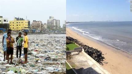 왼쪽은 지난해 8월에 찍힌 베르소바 해변, 오른쪽은 5월 20일 아프로즈 샤가 촬영한 베르소바 해변.출처 CNN