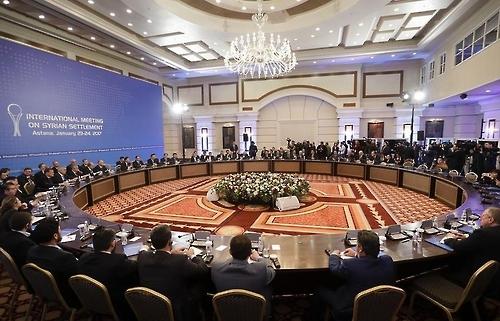 카자흐스탄 수도 아스타나에서 지난달 23일(현지시간) 열린 시리아평화회담 전체 회의 모습 [타스=연합뉴스]