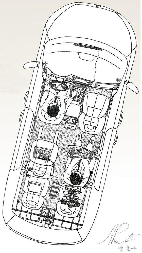 올 뉴 카니발 9인승 2016년형 가솔린. 배기량 3300㏄. 4만3000㎞ 주행. 안철수 후보는 오른 가르마