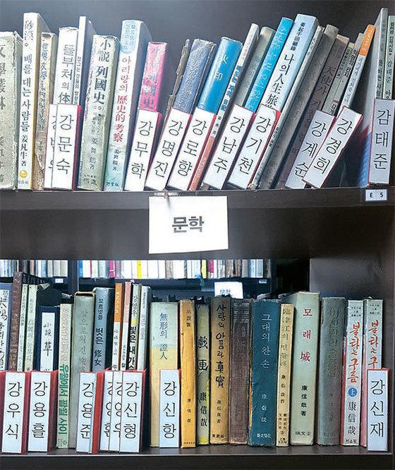 여 대표가 모은 한국문학 책들. 시인 감태준부터소설가 황순원까지 가나다순으로 정리했다.