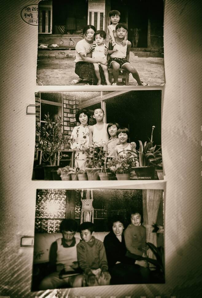 강창덕의 가족사진. 아버지가 없는 가족사진에 불과했지만 사진 뒤에는 '출소 시까지 반려'라는 도장이 찍혀 있다.