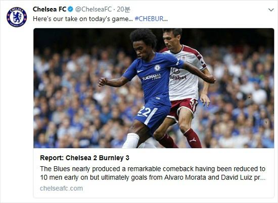 '디펭딩 챔피언' 첼시는 번리와 새 시즌 홈 개막전에서 두 명이나 퇴장을 당하는 끝에 2-3으로 패했다. 그나마 위안은 이적생 알바로 모라타가 후반 교체 투입 후 1골 1도움을 기록했다는 점이다.(사진=첼시 공식 트위터 갈무리)