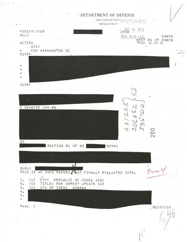 미 국방정보국 비밀문서 계엄군의 폭력적인 진압이 '전두환의 게임 플랜'이었다고 분석한 미 국방정보국(DIA)의 1980년 6월4일 기밀문서.