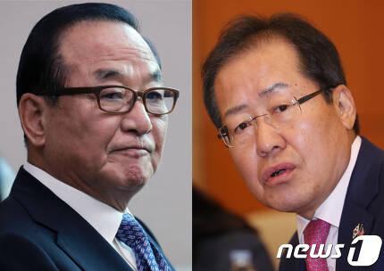 (왼쪽부터)친박계 핵심 서청원 자유한국당 의원과 홍준표 한국당 대표.2017.10.23/뉴스1 © News1 이동원 기자,김명섭 기자