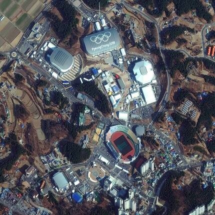 평창 동계올림픽 주경기장. 사진 출처 : 디지털글로브(https://www.digitalglobe.com)