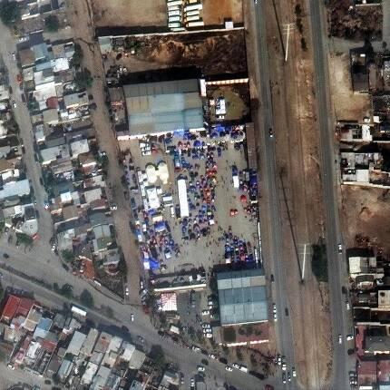미국 국경을 넘으려는 중남미 이주민 임시수용소.