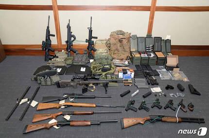 해슨 집에서 압류한 총기류 © AFP=뉴스1