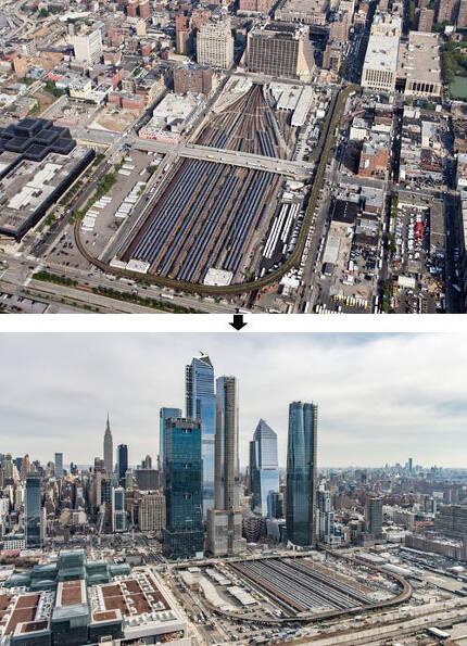 미국 뉴욕에 허드슨 야드 생기기 전(위쪽 사진)과 후 전경. '허드슨 야드'는 미국 뉴욕 맨해튼 서쪽의 스카이라인을 확 바꿔놓았다. 허드슨 야드 제공