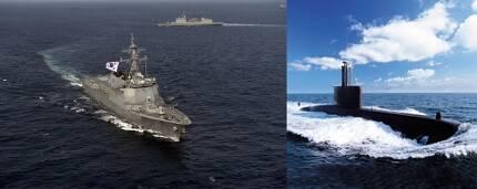 2011년 9월 7전단 기동훈련에 참가한 세종대왕함(좌측)과 대우조선해양이 건조해 2000년 대한민국 해군에 인도한 장보고-Ⅰ(209급) 잠수함/사진출처=머니투데이 DB