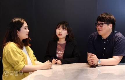 장애인 형제를 둔 비장애인 형제, 자매들이 15일 서울 중구 남대문로 한국일보 본사에서 자신의 경험을 털어놓고 있다. 왼쪽부터 고지유(가명)씨, 함소현씨, 이상훈 사회복지사. 홍인기 기자