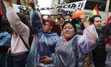 볼리비아 수도 라파스에 모인 반정부 시위대가 10일(현지시간) 에보 모랄레스 대통령의 사임 발표를 듣고 기뻐하고 있다. 연합뉴스