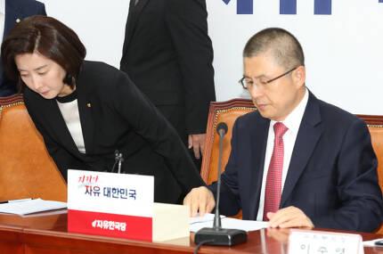 황교안 한국당 대표(오른쪽)와 나경원 원내대표 (사진 = 뉴시스)