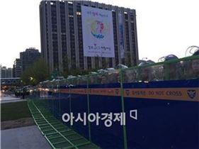 ▲지난 4월 세월호 범국민 추모대회가 열린 광화문 광장에서 대기중인 전경들(사진=원다라 기자)