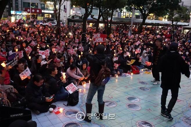12일 제주도 촛불집회 사진. 최충일 기자