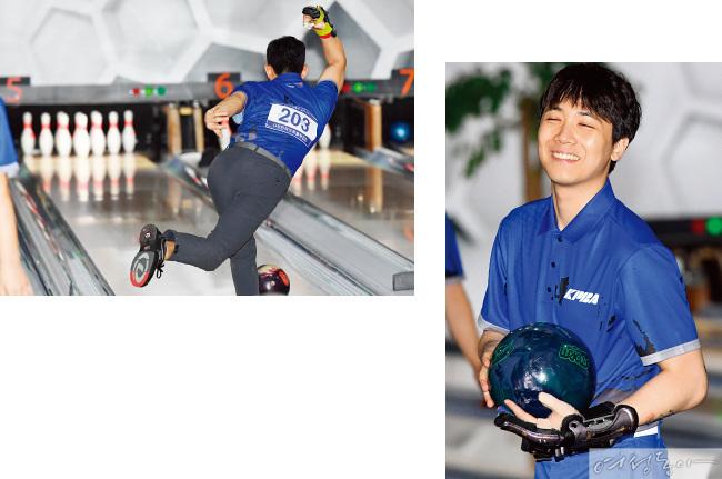 지난 10월 22일 열린 프로 볼러 선발전 1차전 연습 경기에 참여한 김수현.오른쪽은 이홍기.