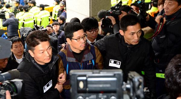 2015년 검거된 한상균 민주노총 위원장.  경향신문 자료사진