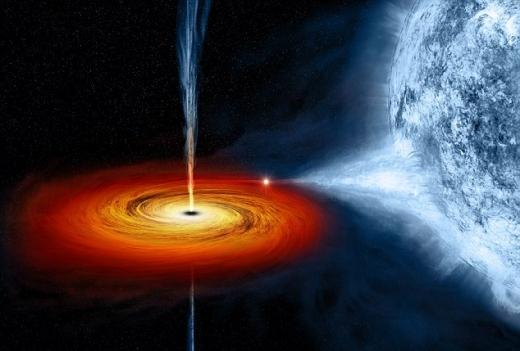백조자리 X-1이라는 이름을 가진 블랙홀 상상도. 지구로부터 약  6,070 광년 거리에 있다.