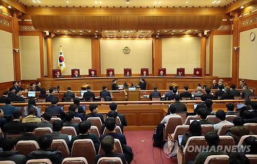 22일 열린 탄핵심판 16차 변론 모습. [연합뉴스 자료사진]