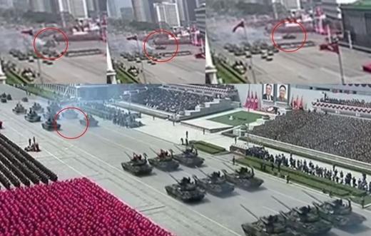 흰 연기를 뿜으며 대열에서 이탈한 선군호 전차(사진=조선중앙통신 캡처)
