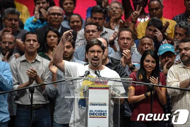 전국총파업을 촉구하는 프레디 게바라 베네수엘라 의회 부의장.© AFP=뉴스1