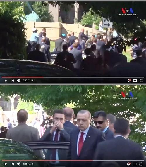 이달 16일 워싱턴에 있는 터키대사관 앞에서 반(反)에르도안 시위대와 경호팀의 충돌을 지켜본 후 대사 관저로 들어가는 에르도안 터키 대통령. [유튜브 캡처]