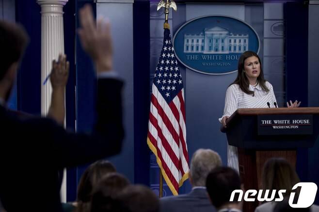 사라 샌더스 백악관 대변인(자료사진). © AFP=뉴스1