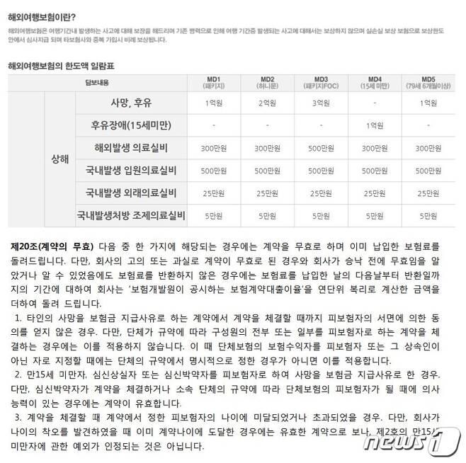 여행자보험 보상내역© News1