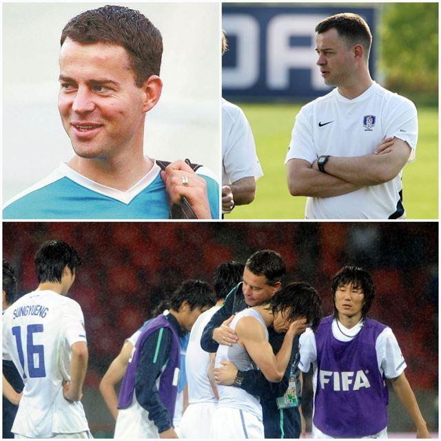 2002년과 2006년 한일, 독일 월드컵 당시 레이몬드. 아래 사진은 2010년 남아공 월드컵 16강에서 패해 아쉬워하는 선수들을 격려하는 레이몬드. 한국일보 자료사진