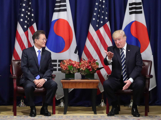 문재인 대통령이 21일 미국 뉴욕 롯데 팰리스 호텔에서 도널드 트럼프 미국 대통령과 한·미 정상회담을 하고 있다. 뉴시스
