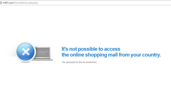 """벅시 굿즈를 파는 것으로 알려진 쇼핑몰에 접속하자 """"이 온라인 쇼핑몰은 한국에서 접속이 불가하다""""는 안내가 나왔다."""