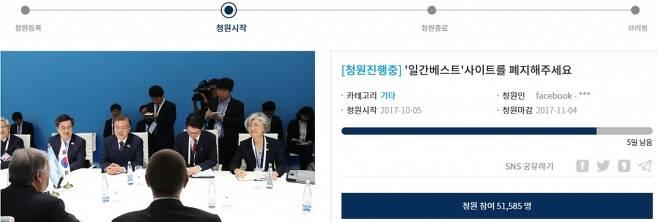청와대 국민청원방에 올라온 '일간베스트 사이트 폐지' 청원 게시글/사진=청와대 홈페이지 캡쳐