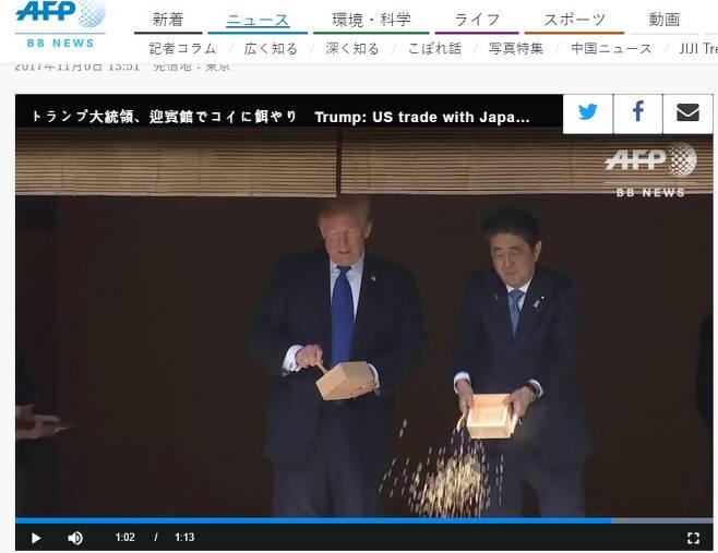 아베 신조 일본 총리가 먼저 상자째 잉어 밥을 뿌리고 있다. 트럼프 대통령은 아베 총리가 상자째 잉어 밥을 줄 때 숟가락으로 잉어 밥을 뜨고 있었다(왼쪽)/사진=AFP뉴스 캡처