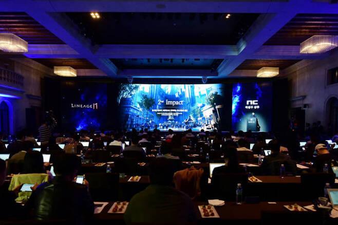 엔씨소프트는 11월 7일 자사 신작을 발표하는 디렉터스컷 행사에서 모바일 MMORPG 3종을 발표했다. 디렉터스컷 행사전경.