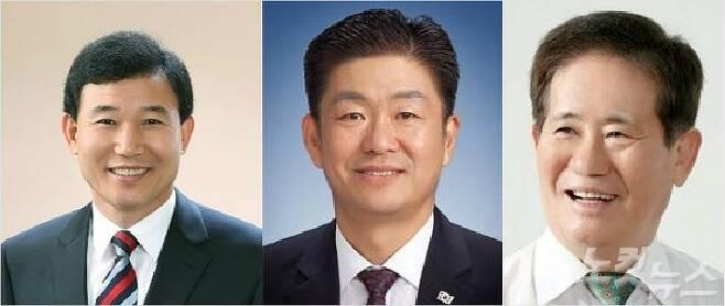 왼쪽부터 박용갑 더불어민주당 후보, 정하길 자유한국당 후보, 송인웅 중구청장 후보.