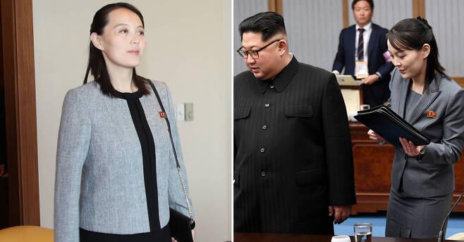 지난 2월에 방남 당시 김여정 북한 노동당 중앙위 제1부부장의 모습(왼쪽사진)과 지난달 방남 당시의 모습. [청와대사진기자단]