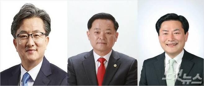 왼쪽부터 정용래 더불어민주당 후보, 권영진 자유한국당 후보, 심소명 바른미래당 후보.