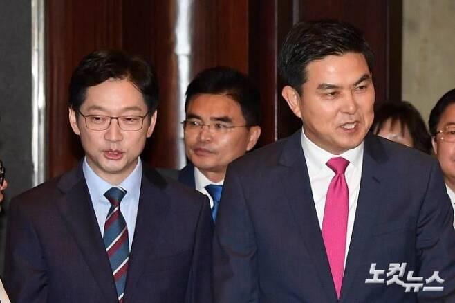더불어민주당 김경수 경남지사 후보(왼쪽), 자유한국당 김태호 경남지사 후보 (사진=박종민 기자/자료사진)