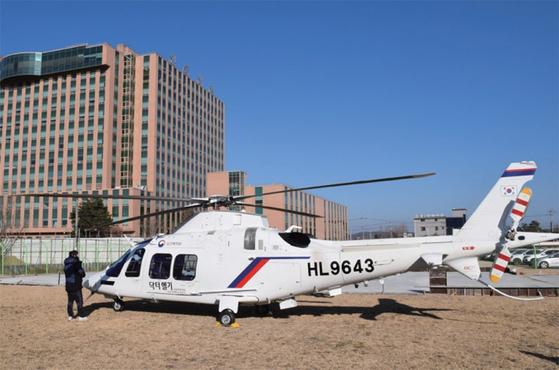 亜洲大病院重症外傷センターに配置されたドクターヘリ(救急医療専用ヘリコプター)。 /写真・聯合ニュース