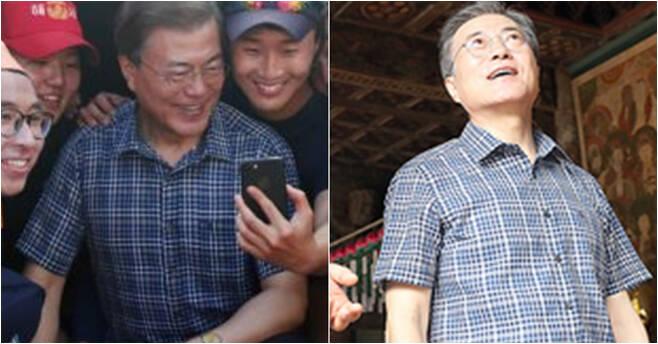 문재인 대통령이 지난해 8월 해군사관학교 학생들과 사진을 찍고 있다. 오른쪽은 봉정사를 찾은 문 대통령.[사진 청와대]