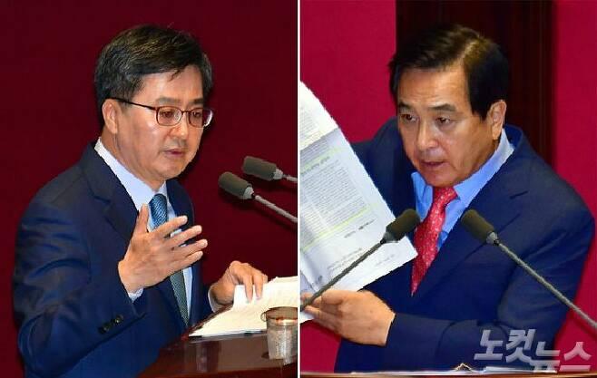 좌측부터 기재부 김동연 장관, 자유한국당 심재철 의원. (사진=자료사진)