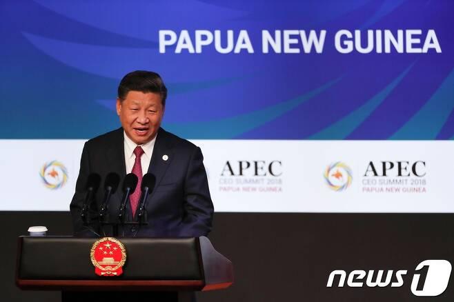 시진핑 중국 국가주석이 APEC 정상회담에서 기조연설을 하고 있다. © AFP=뉴스1 © News1