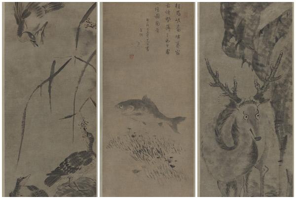 팔대산인이 그린 '기러기' '물고기와 수초도' '사슴'(왼쪽부터)/예술의전당 제공