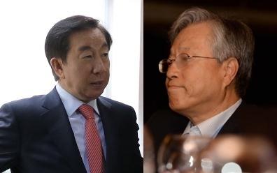 김성태 자유한국당 의원(왼쪽)과 이석채 전 KT 회장(오른쪽) 한겨레 자료 사진
