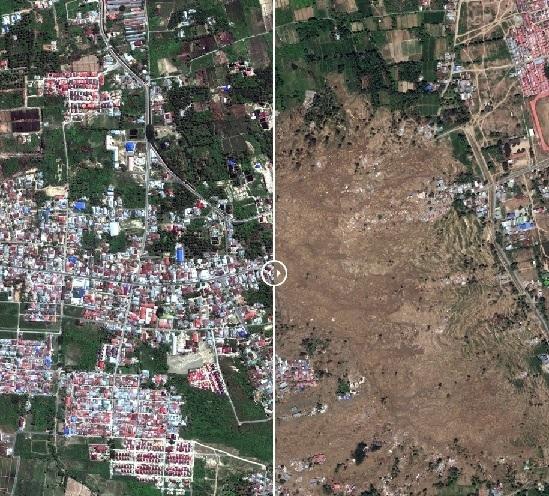 인도네시아 술라웨시섬의 쓰나미 전(왼쪽)과 후.