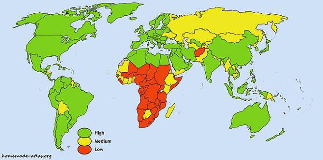 2009년 기준 평균 수명 세계 지도. 녹색은 70세 이상, 붉은 색은 54.9세 이하다. 위키피디아