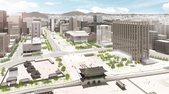 광화문 광장 설계 공모에서 경쟁했던 한 설계안. 이 설계안에서도 정부서울청사 앞은 광장이 되고, 뒤로는 6차로 도로가 지난다. 서울시.