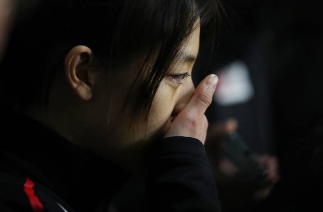 ▲ 노선영과 갈등 문제에 대해 인터뷰하던 도중 흐느끼는 김보름 ⓒ 연합뉴스 제공