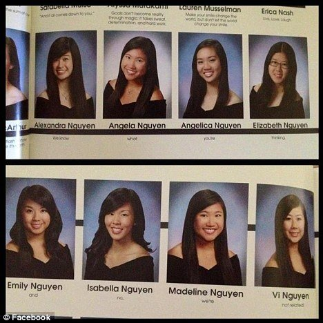 미국 캘리포니아 산호세 프리젠테이션 고등학교에서 화제가 된 졸업앨범 페이지. [영국 데일리메일 캡처]